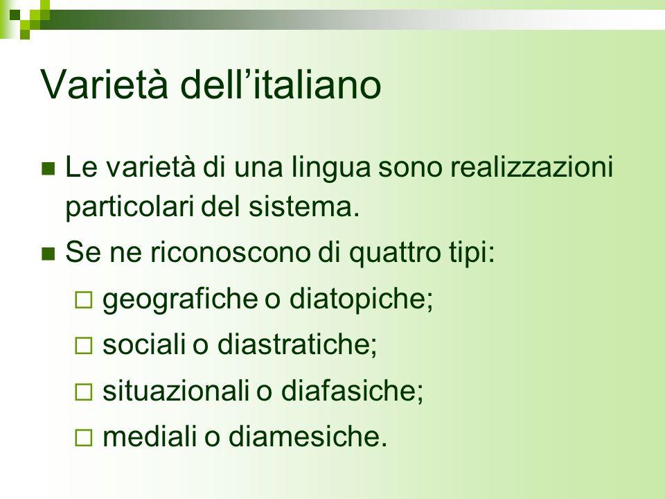 Varietà dell'italiano