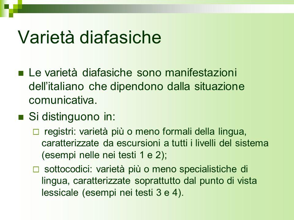 Varietà diafasiche Le varietà diafasiche sono manifestazioni dell'italiano che dipendono dalla situazione comunicativa.