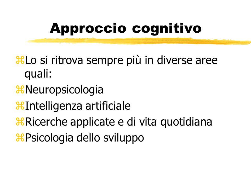 Approccio cognitivo Lo si ritrova sempre più in diverse aree quali: