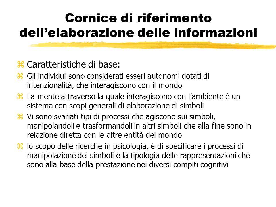 Cornice di riferimento dell'elaborazione delle informazioni