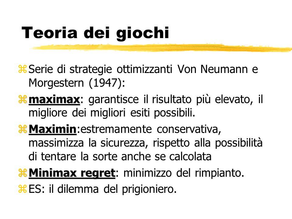 Teoria dei giochi Serie di strategie ottimizzanti Von Neumann e Morgestern (1947):