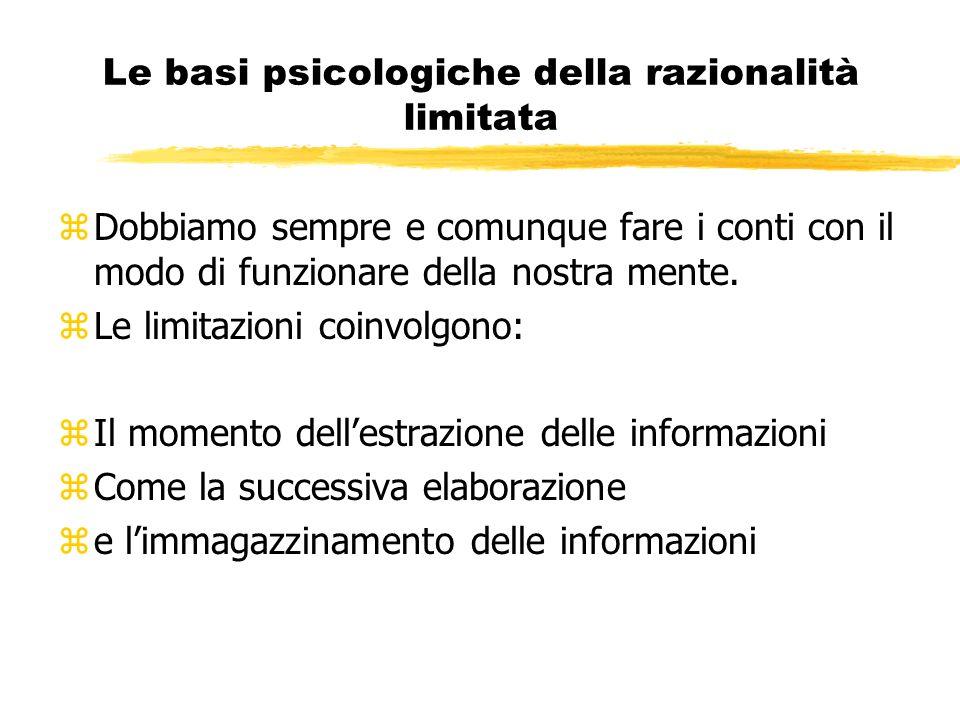 Le basi psicologiche della razionalità limitata
