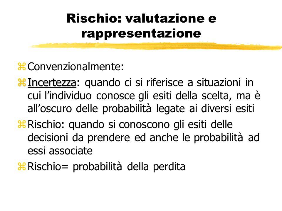 Rischio: valutazione e rappresentazione