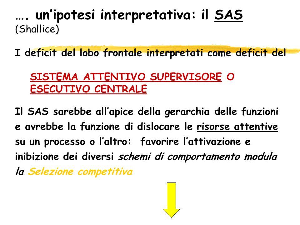 …. un'ipotesi interpretativa: il SAS (Shallice)