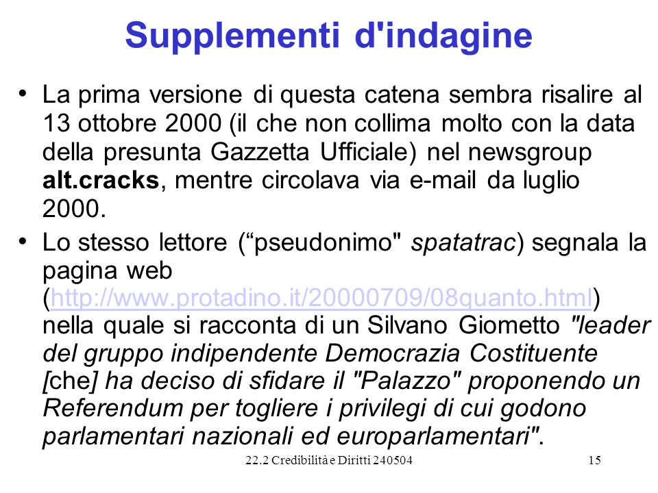 Supplementi d indagine