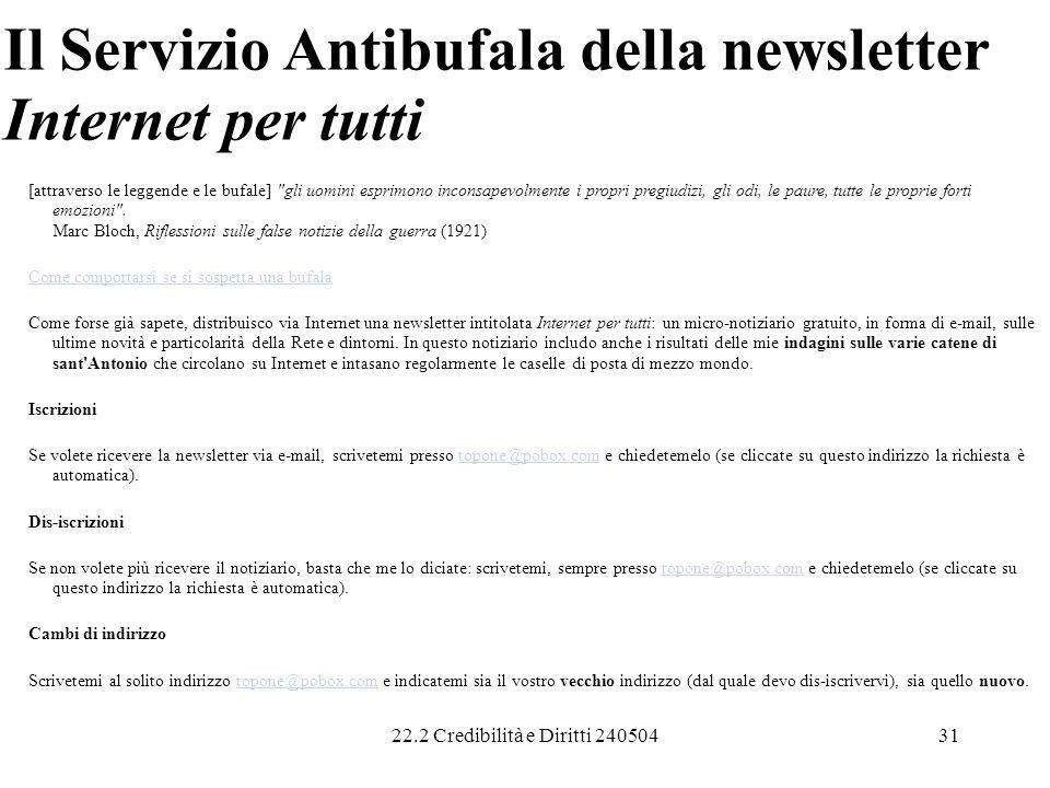 Il Servizio Antibufala della newsletter Internet per tutti