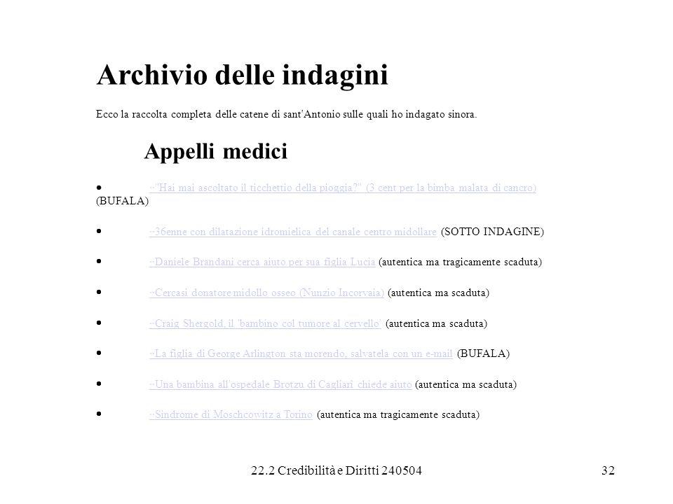Archivio delle indagini