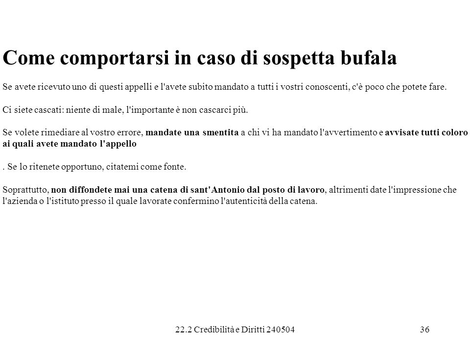 Come comportarsi in caso di sospetta bufala