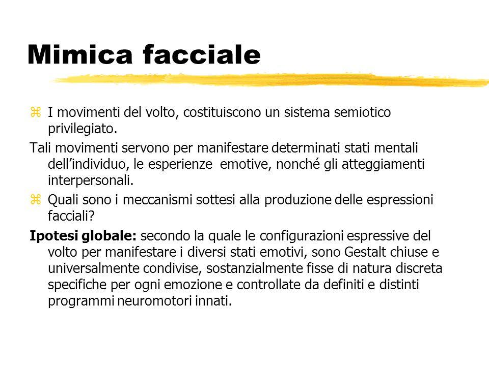 Mimica facciale I movimenti del volto, costituiscono un sistema semiotico privilegiato.