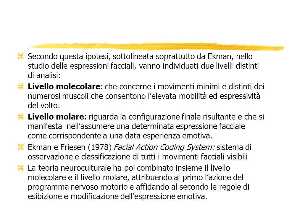 Secondo questa ipotesi, sottolineata soprattutto da Ekman, nello studio delle espressioni facciali, vanno individuati due livelli distinti di analisi: