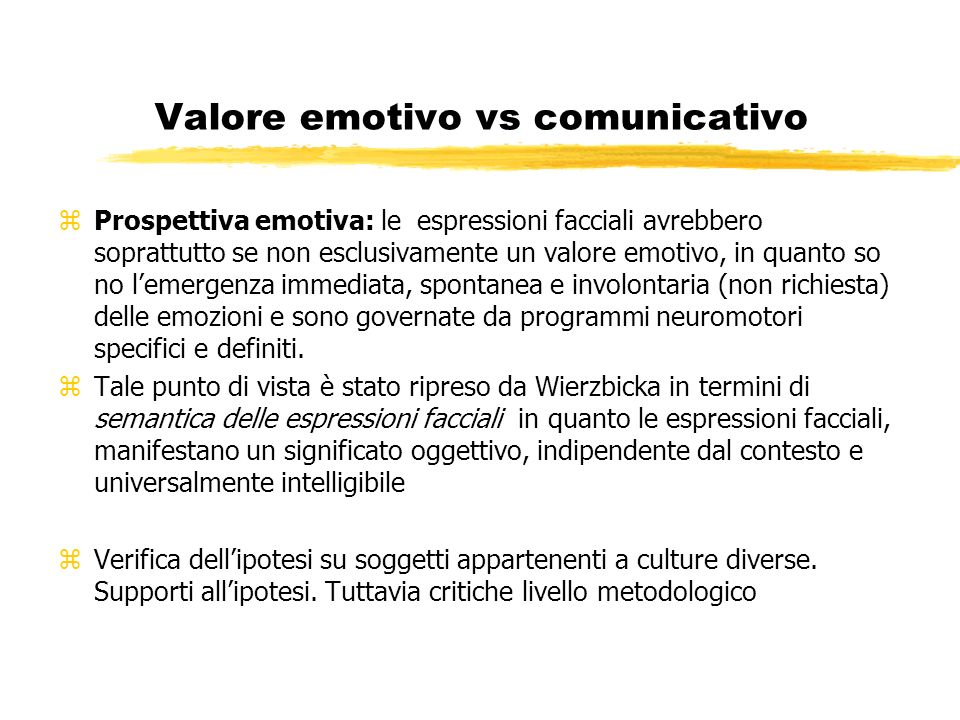 Valore emotivo vs comunicativo