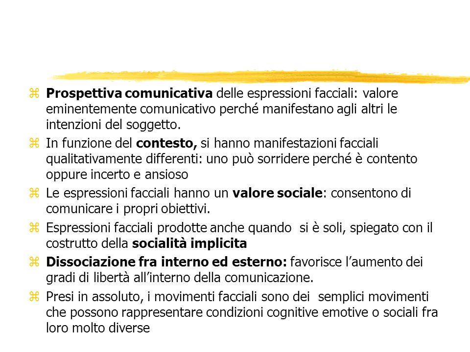 Prospettiva comunicativa delle espressioni facciali: valore eminentemente comunicativo perché manifestano agli altri le intenzioni del soggetto.