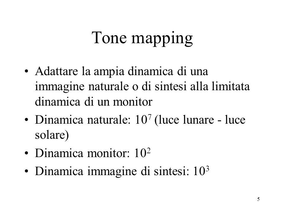 Tone mapping Adattare la ampia dinamica di una immagine naturale o di sintesi alla limitata dinamica di un monitor.