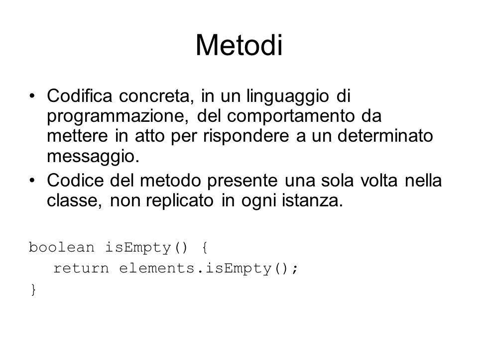 Metodi Codifica concreta, in un linguaggio di programmazione, del comportamento da mettere in atto per rispondere a un determinato messaggio.