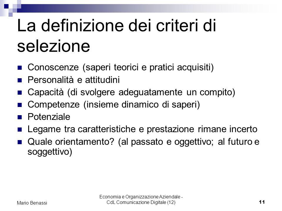 La definizione dei criteri di selezione