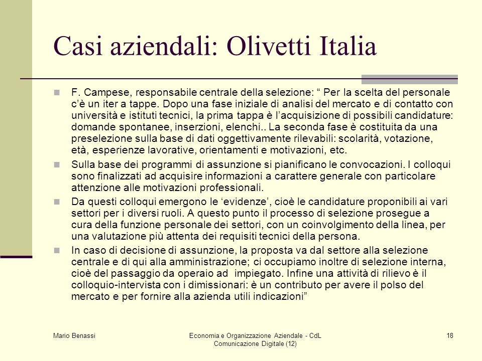 Casi aziendali: Olivetti Italia