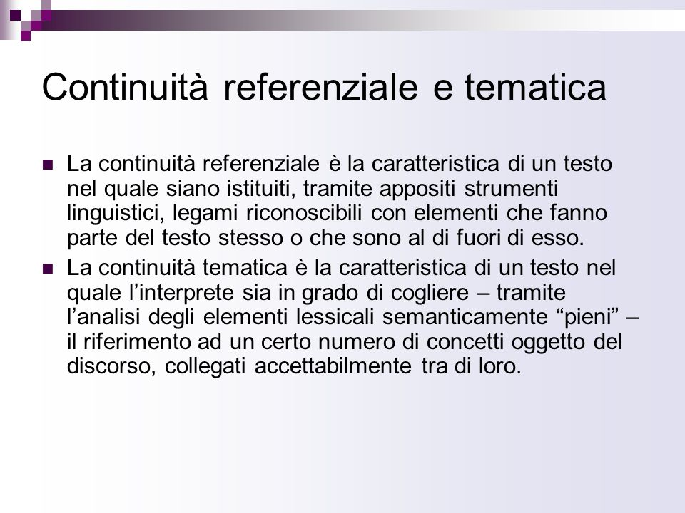 Continuità referenziale e tematica