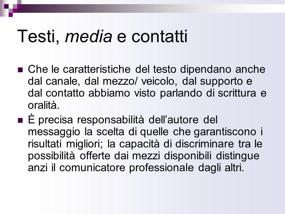 Testi, media e contatti