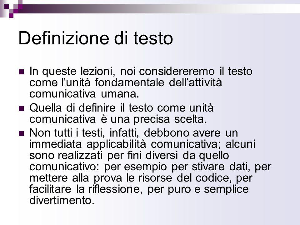 Definizione di testo In queste lezioni, noi considereremo il testo come l'unità fondamentale dell'attività comunicativa umana.