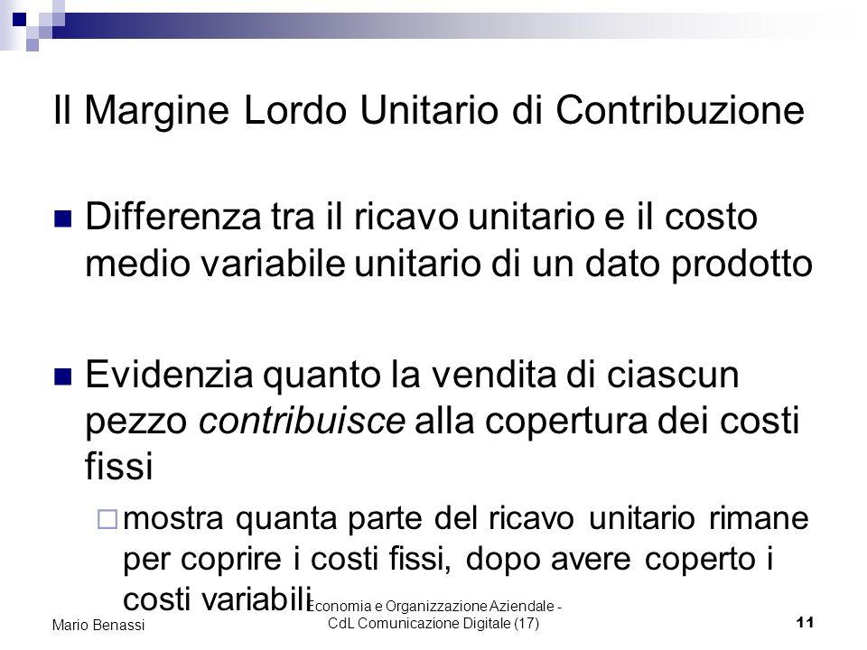 Il Margine Lordo Unitario di Contribuzione