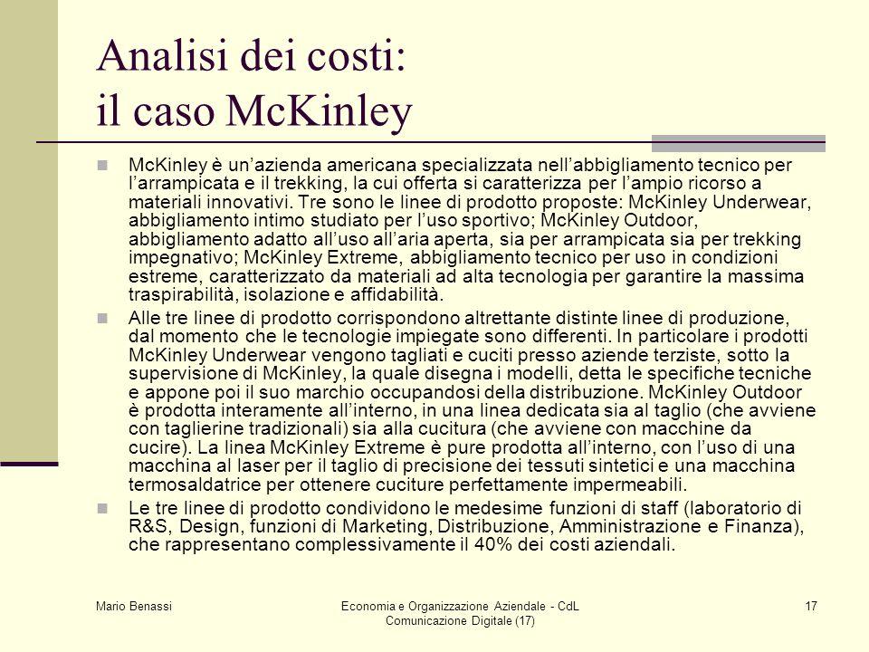 Analisi dei costi: il caso McKinley