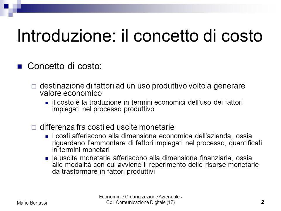 Introduzione: il concetto di costo