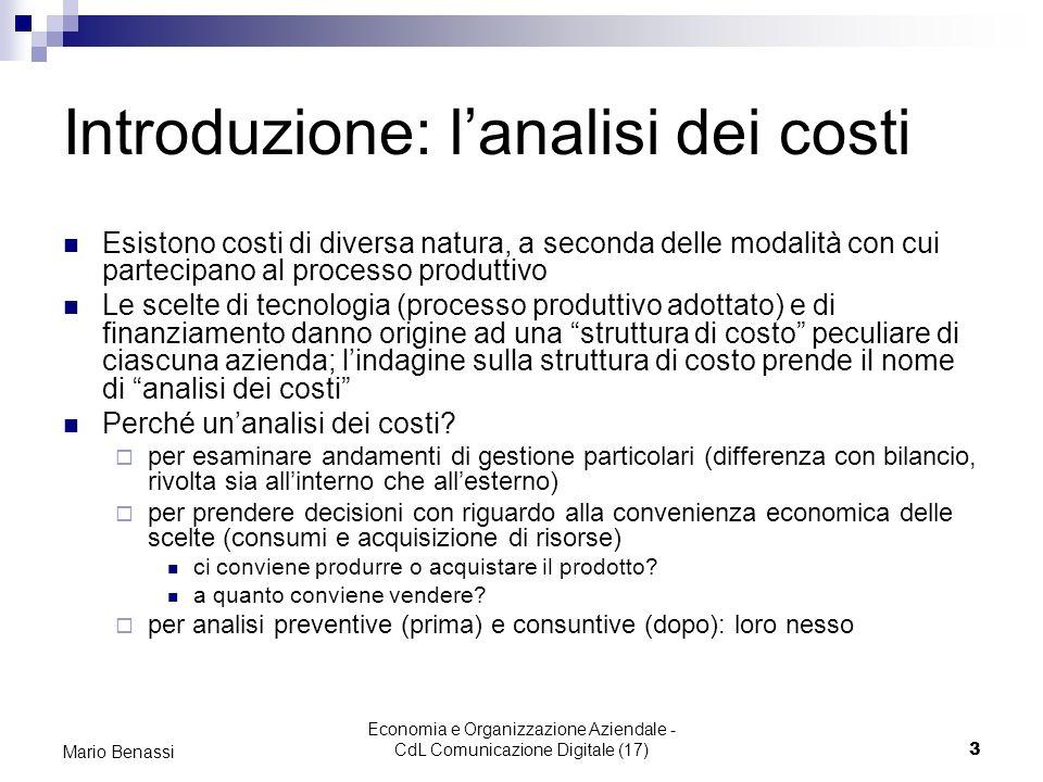 Introduzione: l'analisi dei costi