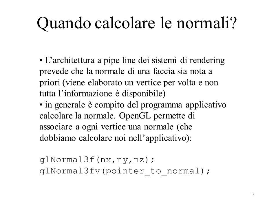 Quando calcolare le normali