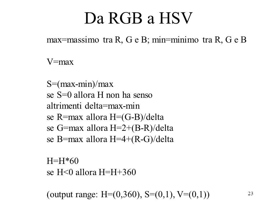 Da RGB a HSV max=massimo tra R, G e B; min=minimo tra R, G e B V=max