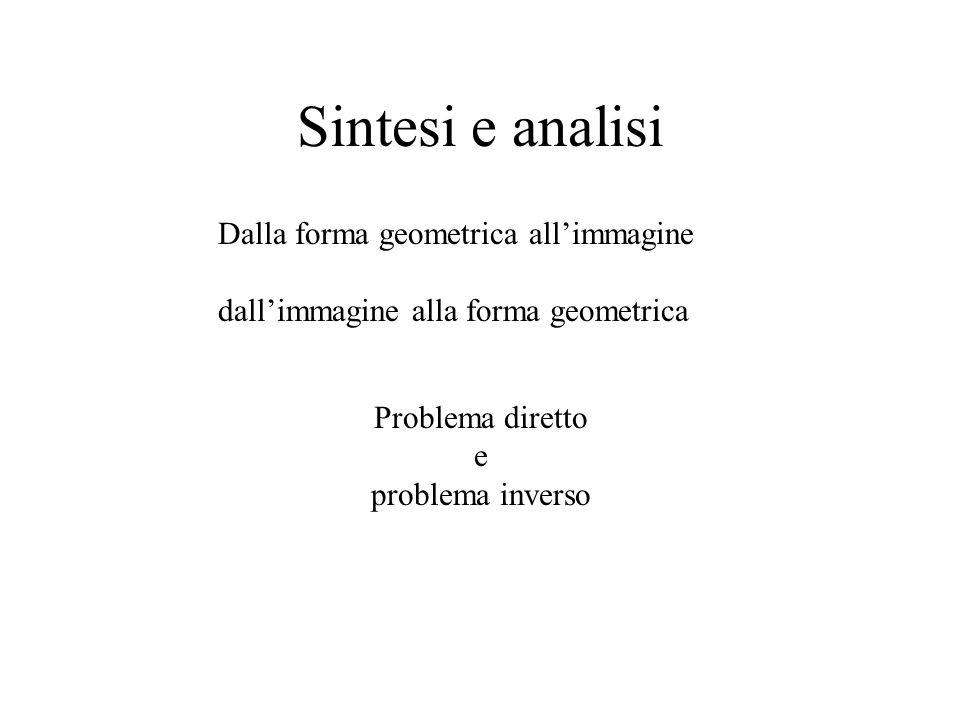 Sintesi e analisi Dalla forma geometrica all'immagine
