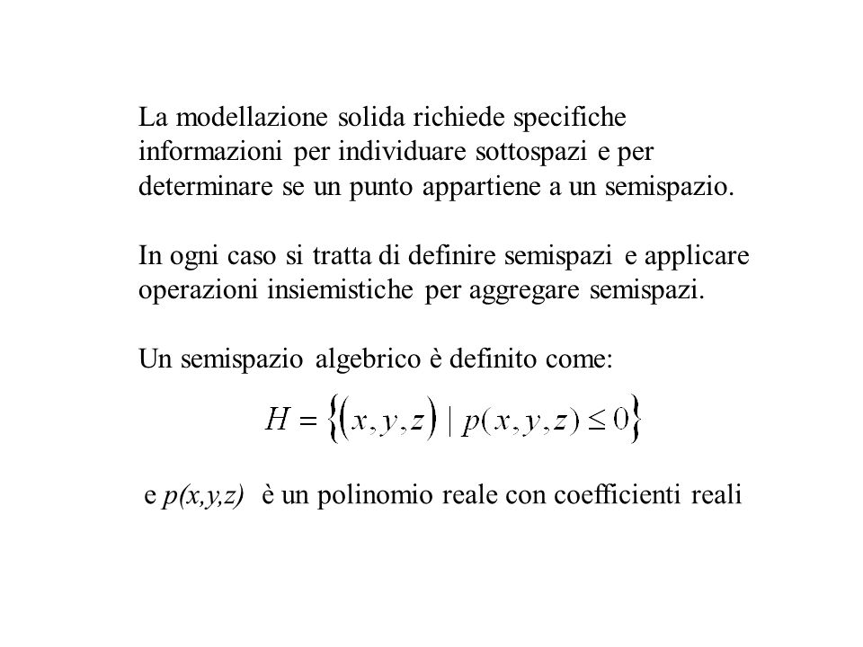 La modellazione solida richiede specifiche
