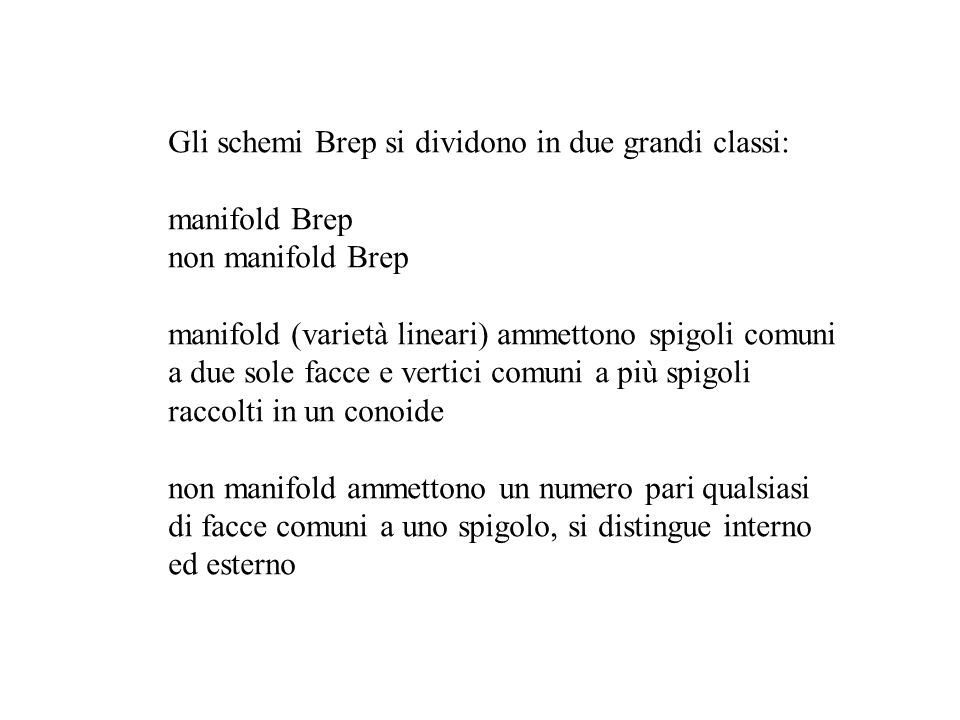 Gli schemi Brep si dividono in due grandi classi: