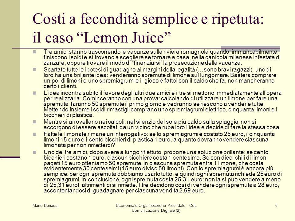 Costi a fecondità semplice e ripetuta: il caso Lemon Juice