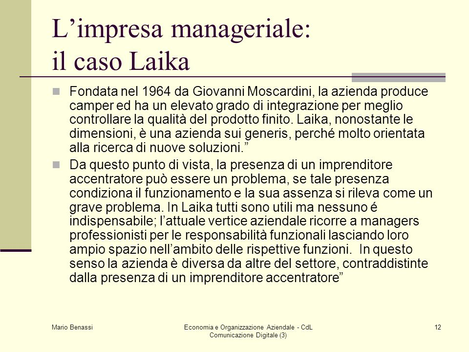 L'impresa manageriale: il caso Laika