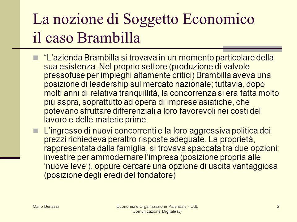 La nozione di Soggetto Economico il caso Brambilla