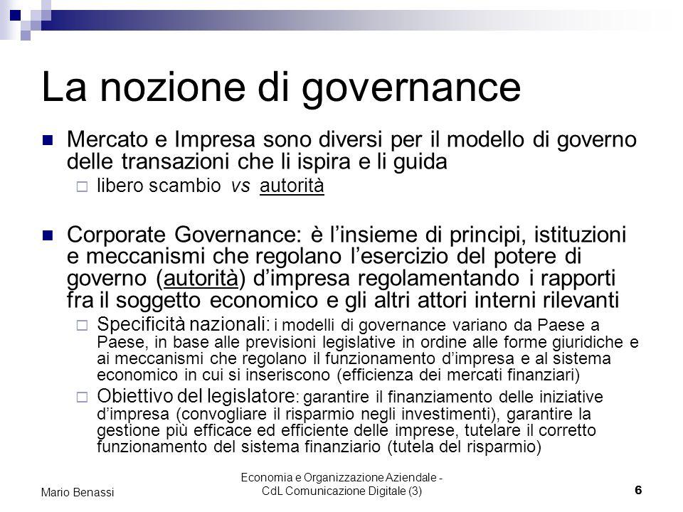 La nozione di governance