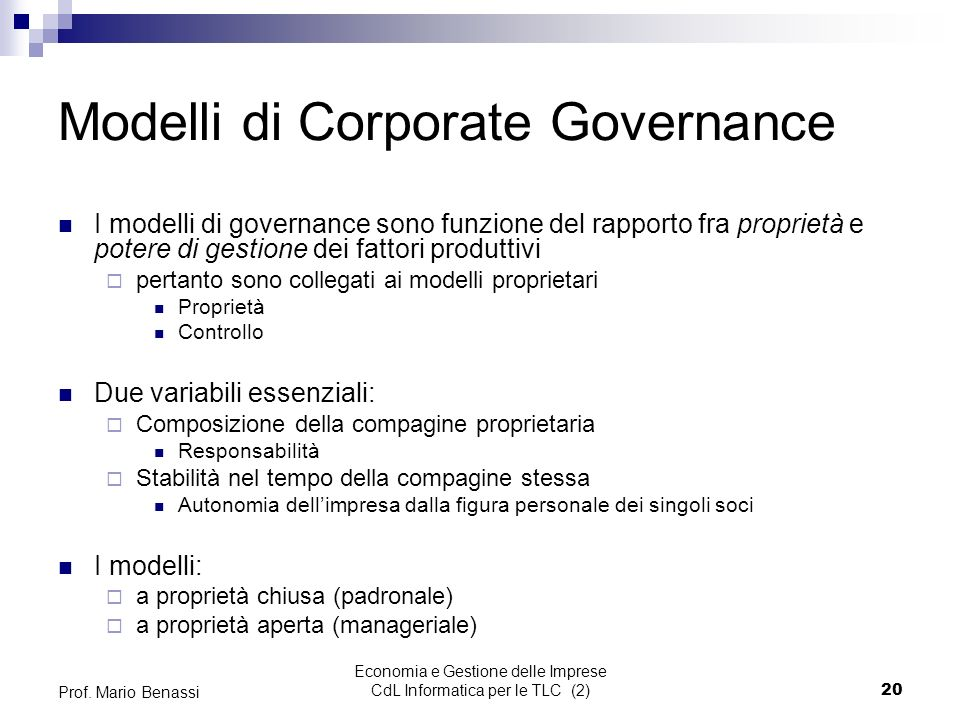 Modelli di Corporate Governance