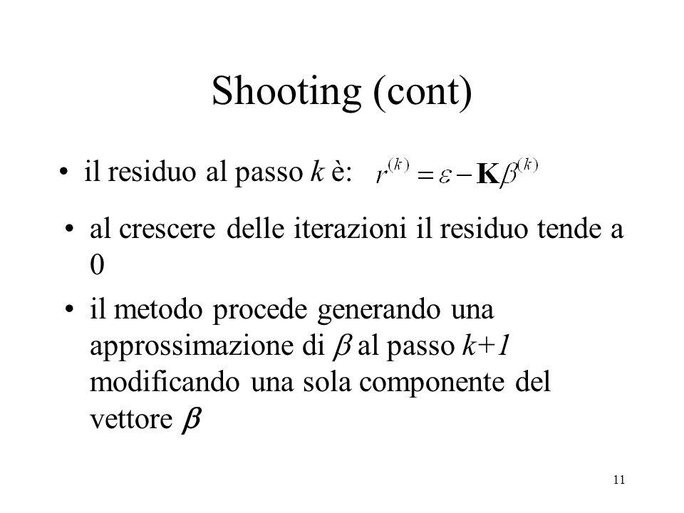 Shooting (cont) il residuo al passo k è: