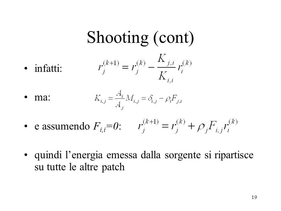 Shooting (cont) infatti: ma: e assumendo Fi,i=0: