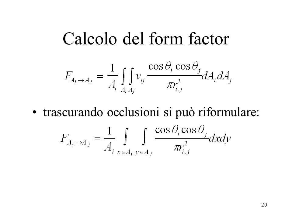 Calcolo del form factor