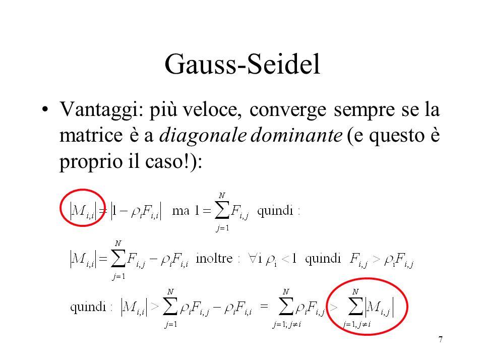 Gauss-Seidel Vantaggi: più veloce, converge sempre se la matrice è a diagonale dominante (e questo è proprio il caso!):