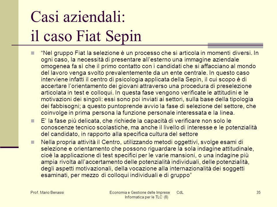Casi aziendali: il caso Fiat Sepin