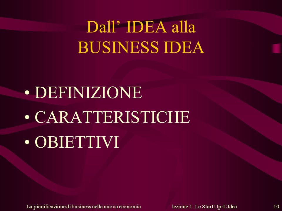 Dall' IDEA alla BUSINESS IDEA