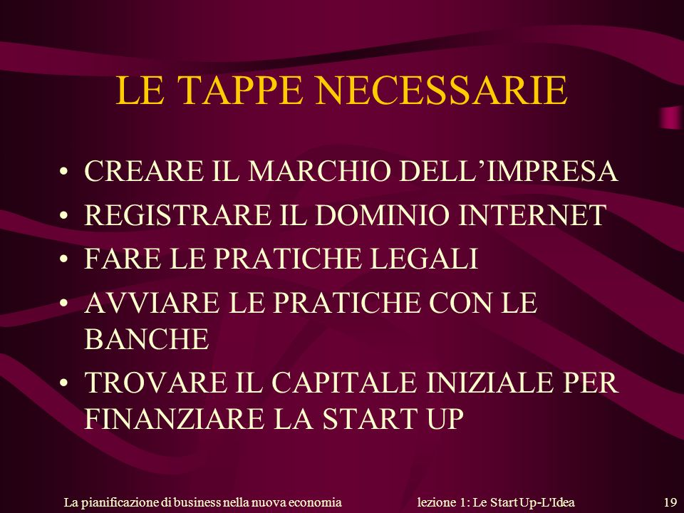 lezione 1: Le Start Up-L Idea