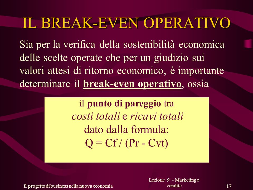 IL BREAK-EVEN OPERATIVO