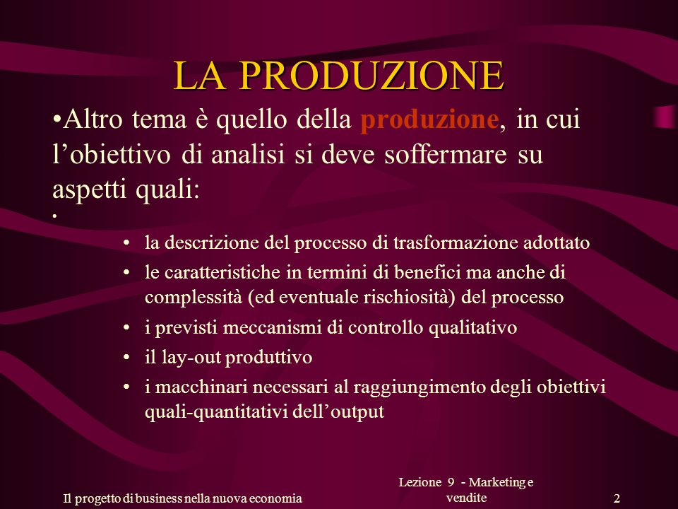 Lezione 9 - Marketing e vendite