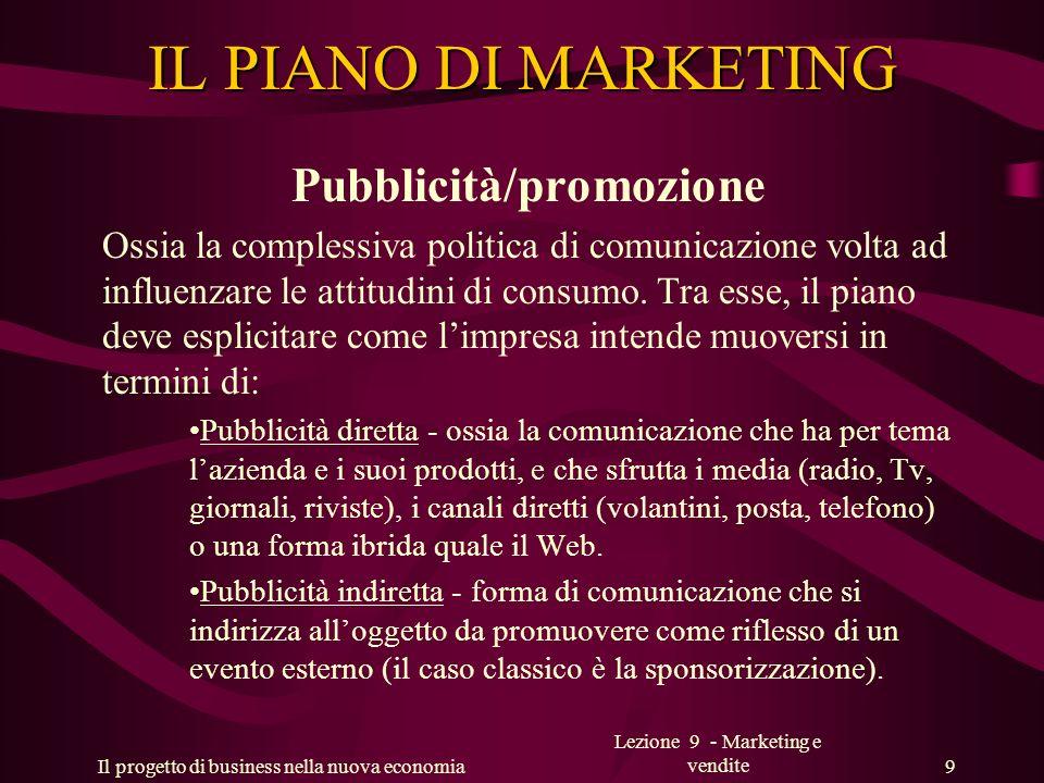 IL PIANO DI MARKETING Pubblicità/promozione