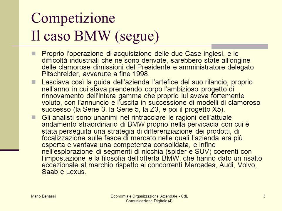 Competizione Il caso BMW (segue)