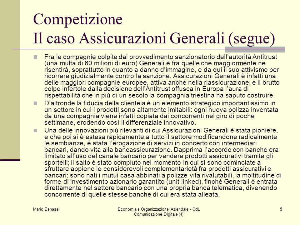 Competizione Il caso Assicurazioni Generali (segue)