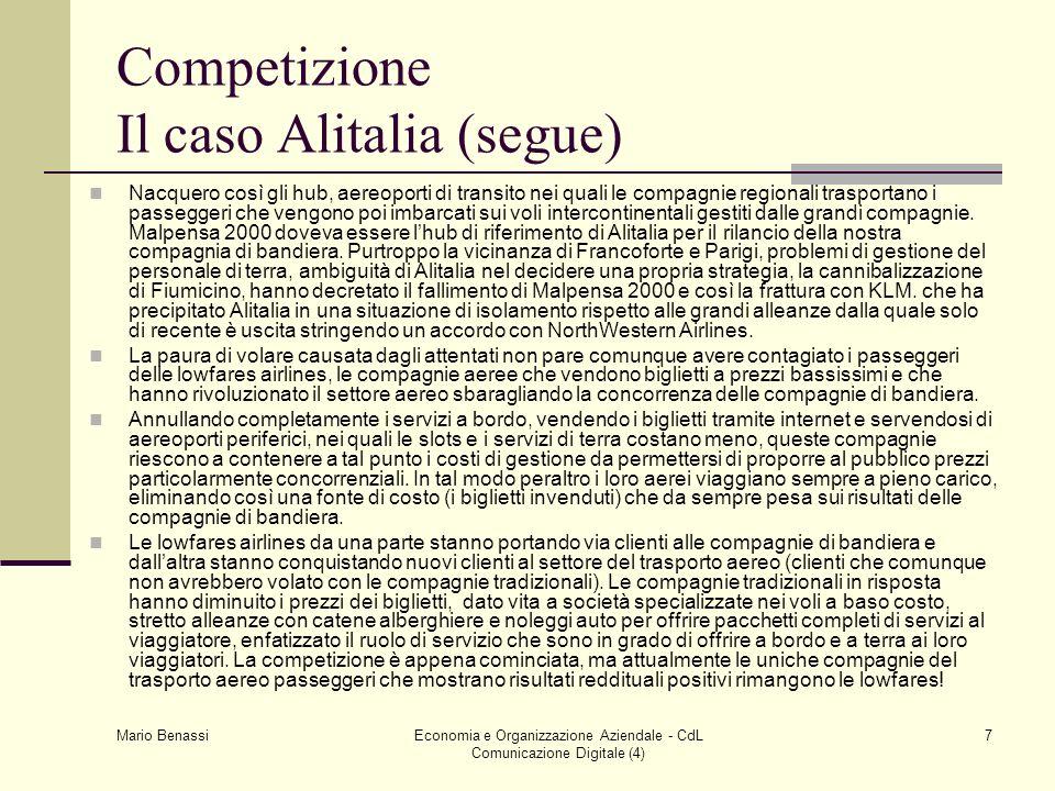 Competizione Il caso Alitalia (segue)
